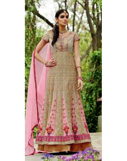 Tan Pure Georgette Suit