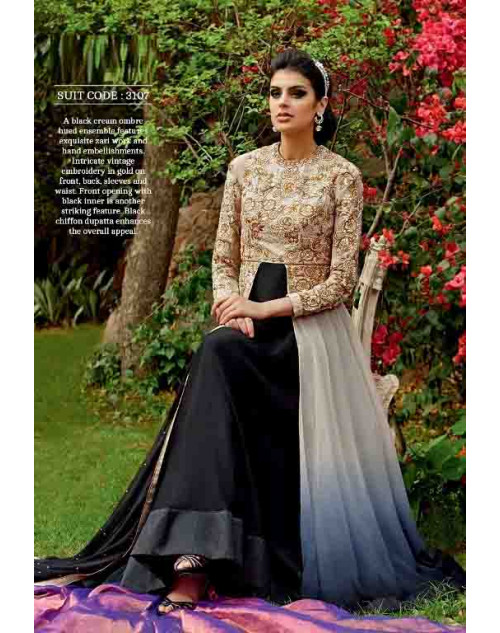 Cornsilk and Black Pure Georgette Suit