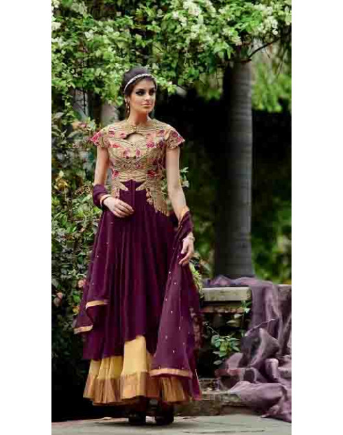 Purple Pure Georgette Suit
