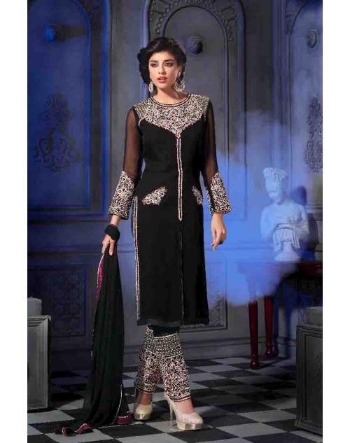 Black Semi Georgette Salwar Kamiz