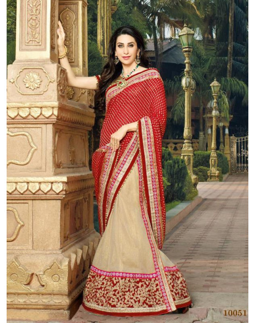 Karishma Kapoor Red and Cream Geogette Saree With Silk Blouse