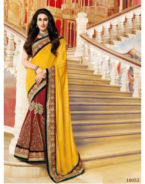Karishma Kapoor Yellow and Crimson Satin Saree With Silk Blouse