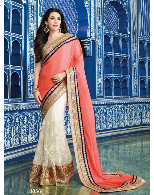 Karishma Kapoor White and Salmon Satin Saree With Silk Blouse