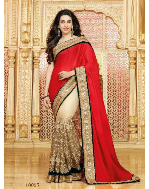 Karishma Kapoor Wheat and Red Satin Saree With Silk Blouse