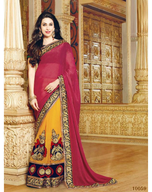 Karishma Kapoor Maroon and Orange Geogette Saree With Silk Blouse