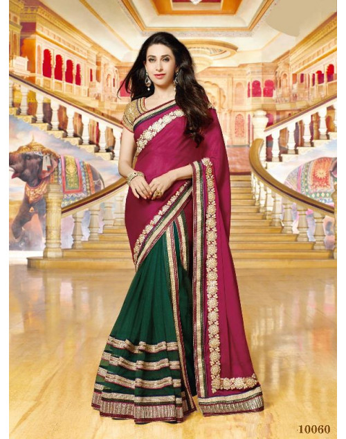 Karishma Kapoor Green and Maroon Geogette Saree With Silk Blouse