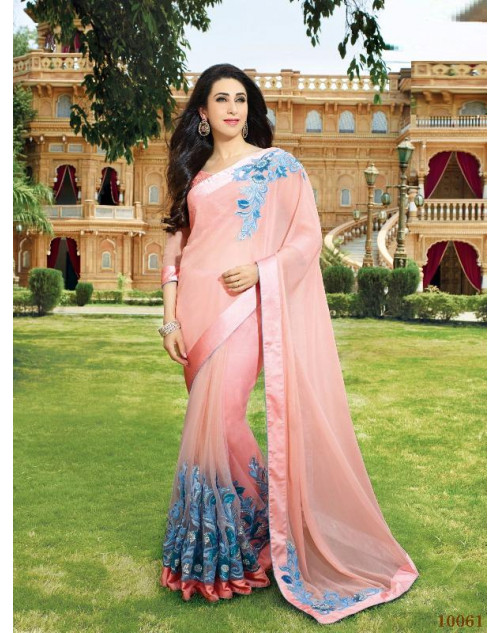 Karishma Kapoor MistyRose Tissue Saree With Silk Blouse