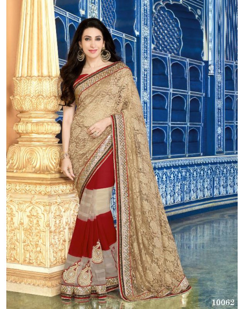 Karishma Kapoor Tan and Sienna Net and Geogette Saree With Silk Blouse