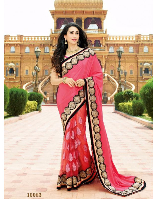 Karishma Kapoor DeepPink Satin Saree With Silk Blouse