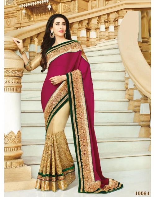 Karishma Kapoor FireBrick and PaleGoldenRod Satin Saree With Silk Blouse