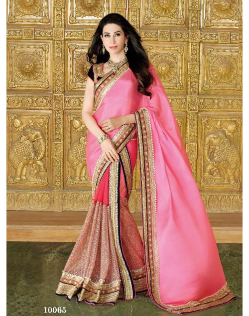 Karishma Kapoor Pink Satin Saree With Silk Blouse
