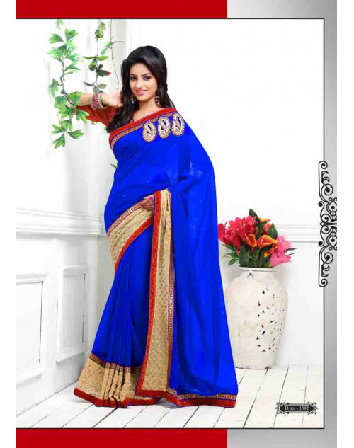 Deepika Singh Blue and Maroon Saree