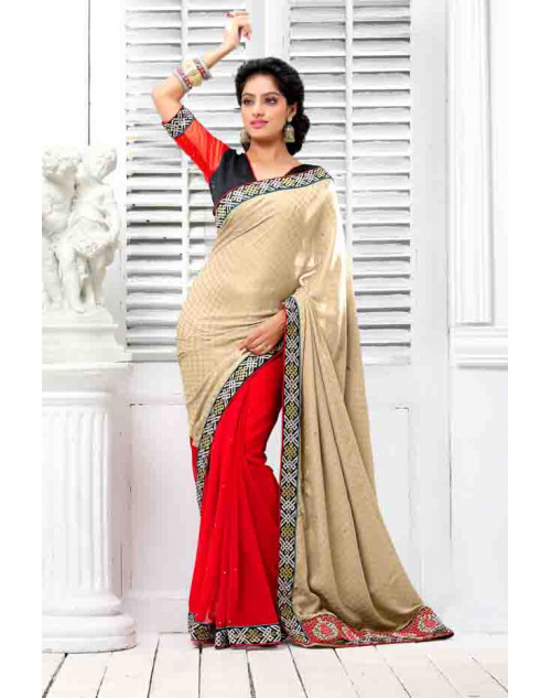 Deepika Singh Cream and Salmon Saree