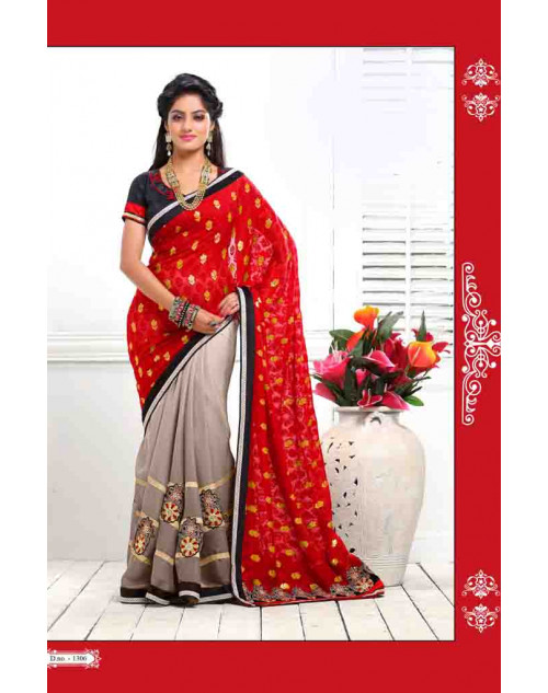 Deepika Singh Grey and Red Saree
