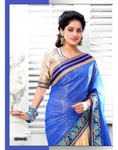 Deepika Singh Cornsilk and Blue Saree