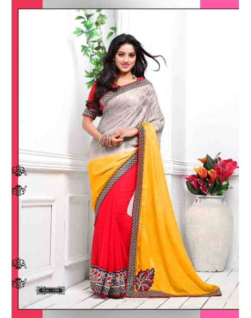 Deepika Singh Grey and Orange Saree