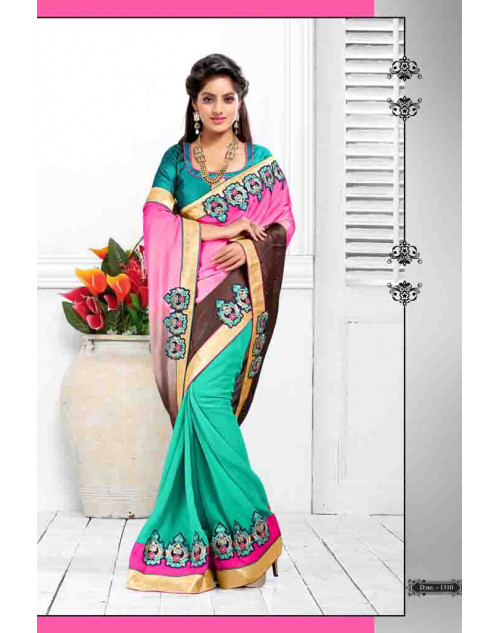 Deepika Singh Aquamarine and Pink Saree