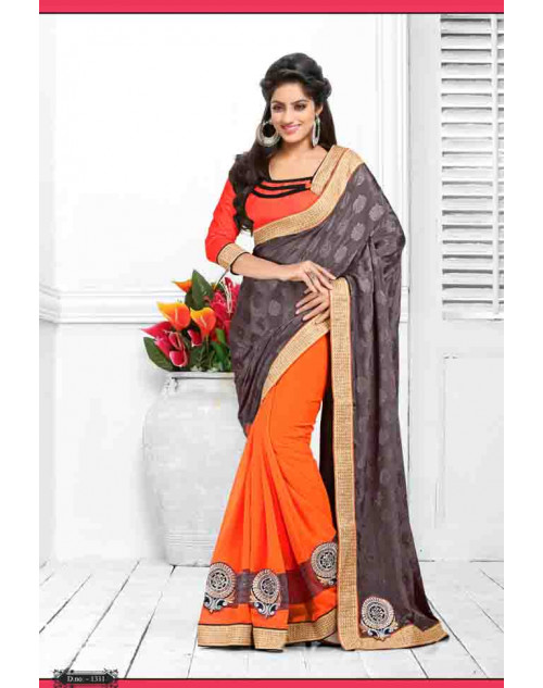 Deepika Singh Orange and DeemGrey Saree