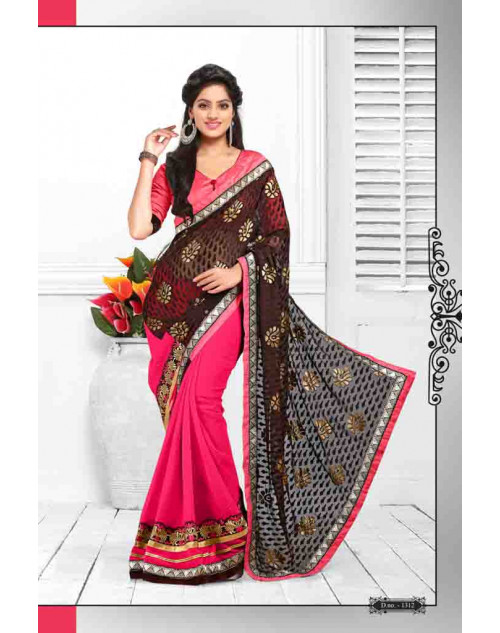 Deepika Singh Grey and Pink Saree