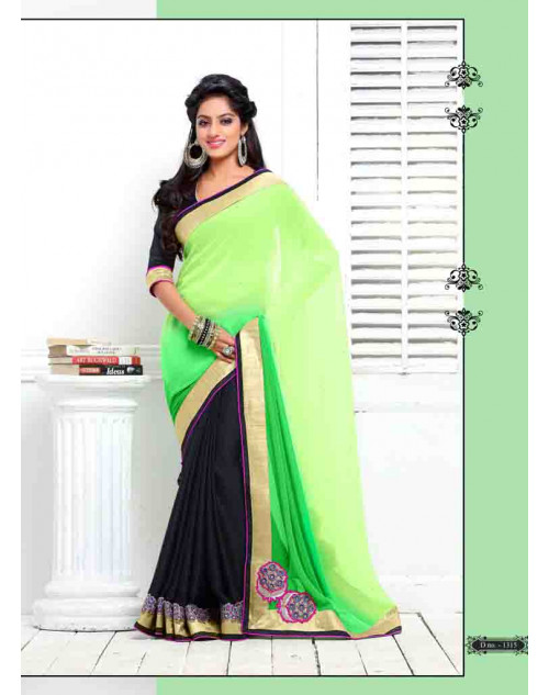 Deepika Singh Black and YellowGreen Saree