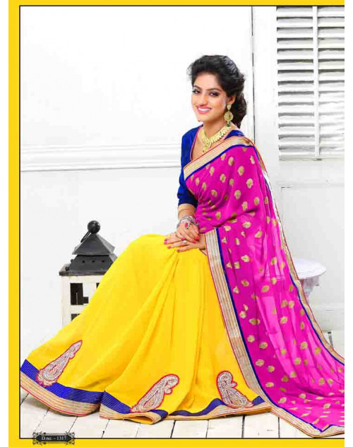 Deepika Singh Violet and Yellow Saree