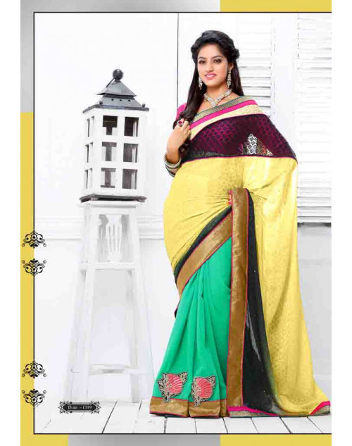 Deepika Singh Yellow and Turquoise Saree