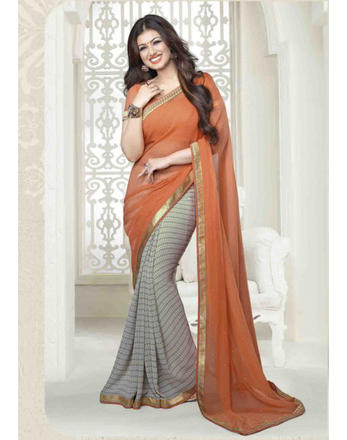 Ayesha Takia Peach Traditional Georgette Saree