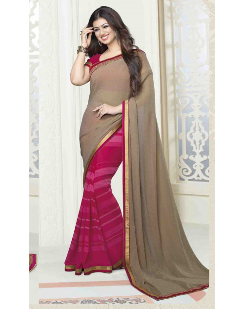 Ayesha Takia Pink Georgette Traditional Saree