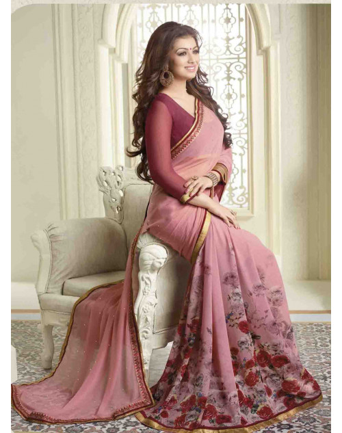 Ayesha Takia Red and Wine Traditional Georgette Saree