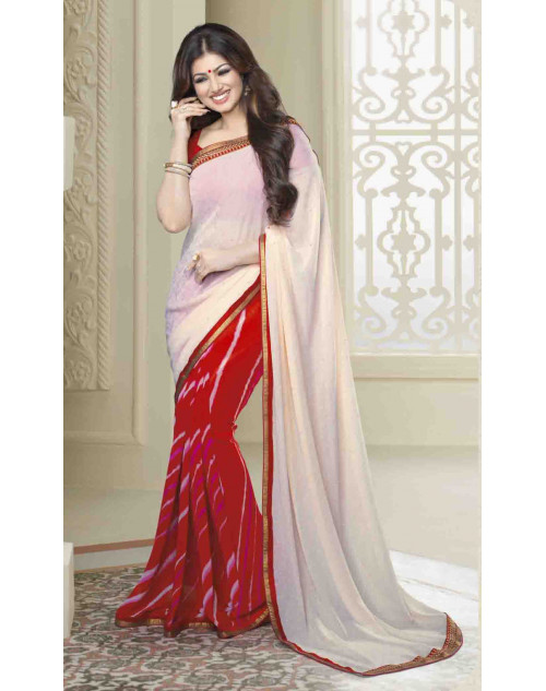 Ayesha Takia Red Traditional Georgette Saree