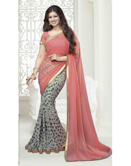 Ayesha Takia Red and Peach Traditional Georgette Saree