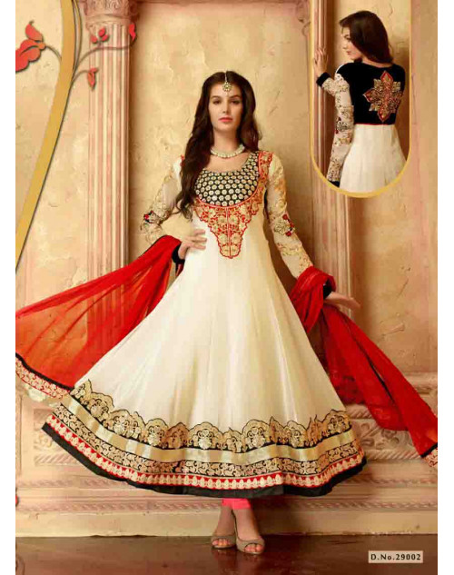 Off-White Faux Georgette Salwar Kamiz