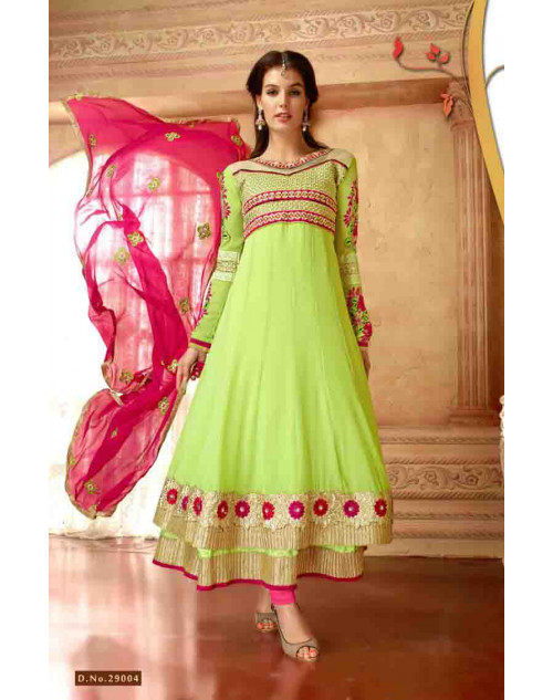 LightGreen Faux Georgette Salwar Kamiz