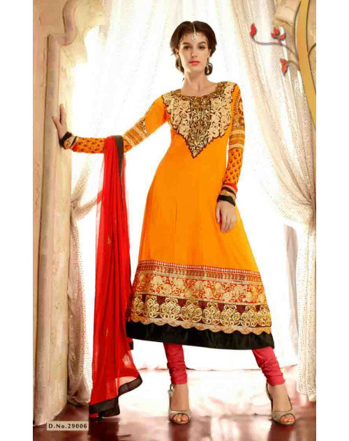 Orange Faux Georgette Salwar Kamiz