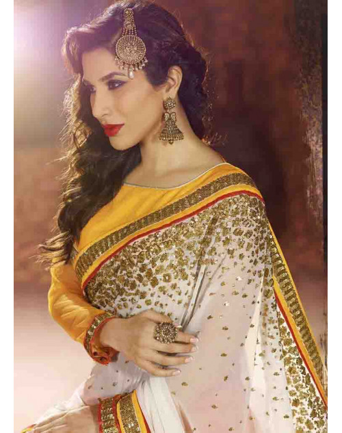 Sophie Choudry Yellow and White Georgette Saree