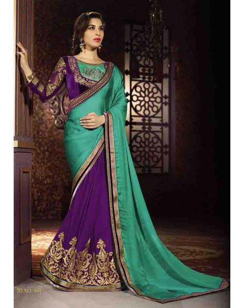 Sophie Choudry Purple and Aqua Satin Chiffon and Georgette Saree