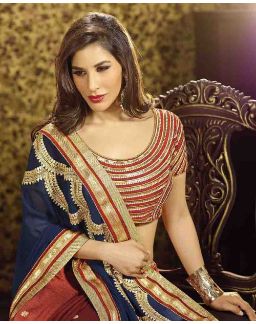 Sophie Choudry Maroon and SlateBlue Georgette Saree
