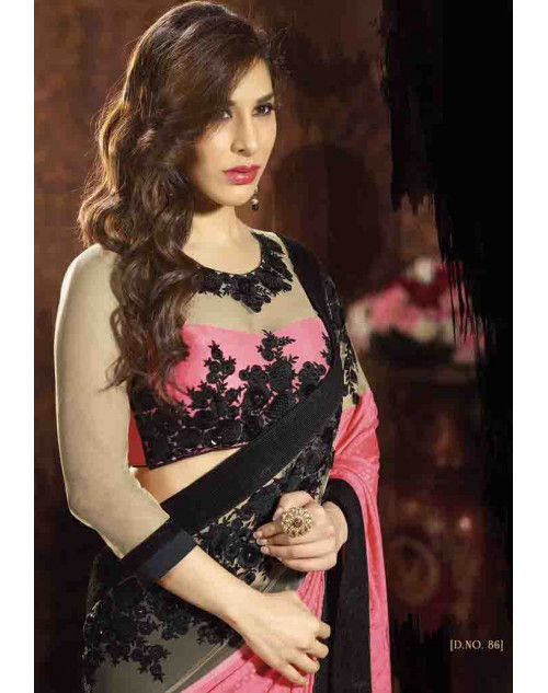 Sophie Choudry Pink and Black Satin Jacquard and Net Saree