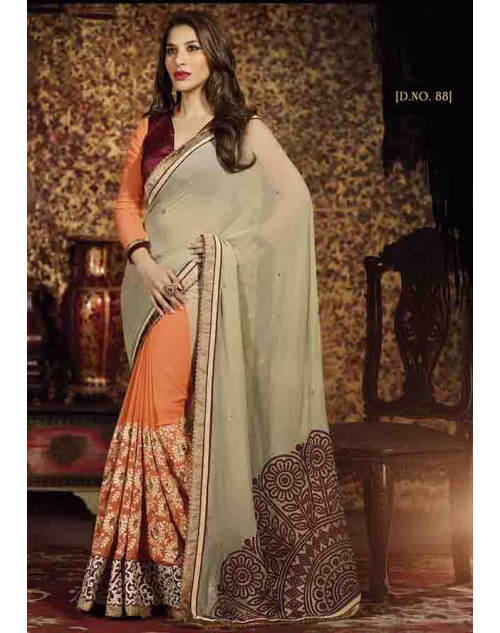 Sophie Choudry Coral and Cream Georgette Saree