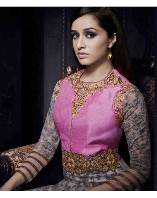 Shraddha Kapoor Pink and Grey Georgette and Net Dress Materials