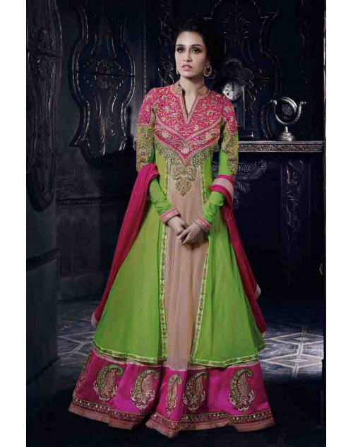 Shraddha Kapoor Pink and SpringGreen Georgette and Net Dress Materials