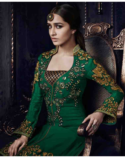Shraddha Kapoor Green Georgette and Net Dress Materials