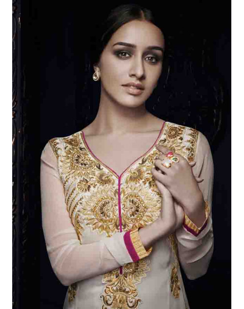 Shraddha Kapoor Cream Georgette and Net Dress Materials