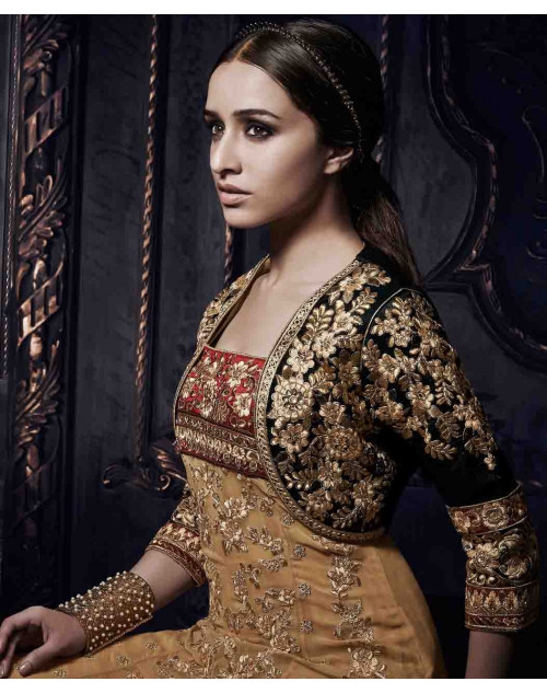 Shraddha Kapoor BurlyWood and Black Georgette and Net Dress Materials