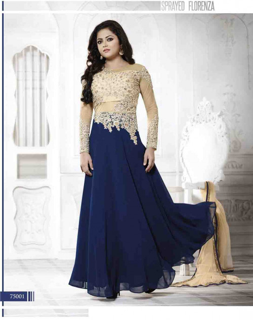 Madhubala as Drashti Dhami Designer Navy and Cream Georgette and Net Salwar Kameez