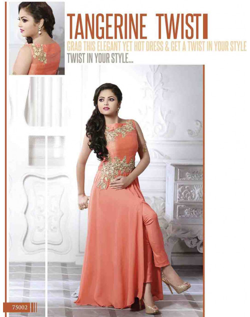 Madhubala as Drashti Dhami Designer Peach Georgette and Net Salwar Kameez