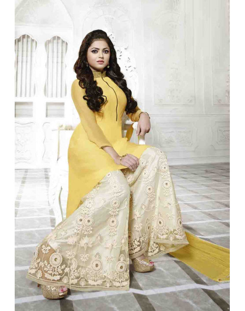 Madhubala as Drashti Dhami Designer Yellow and White Georgette Salwar Kameez