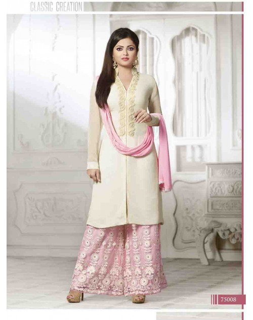 Madhubala as Drashti Dhami Designer White and Pink Georgette Salwar Kameez
