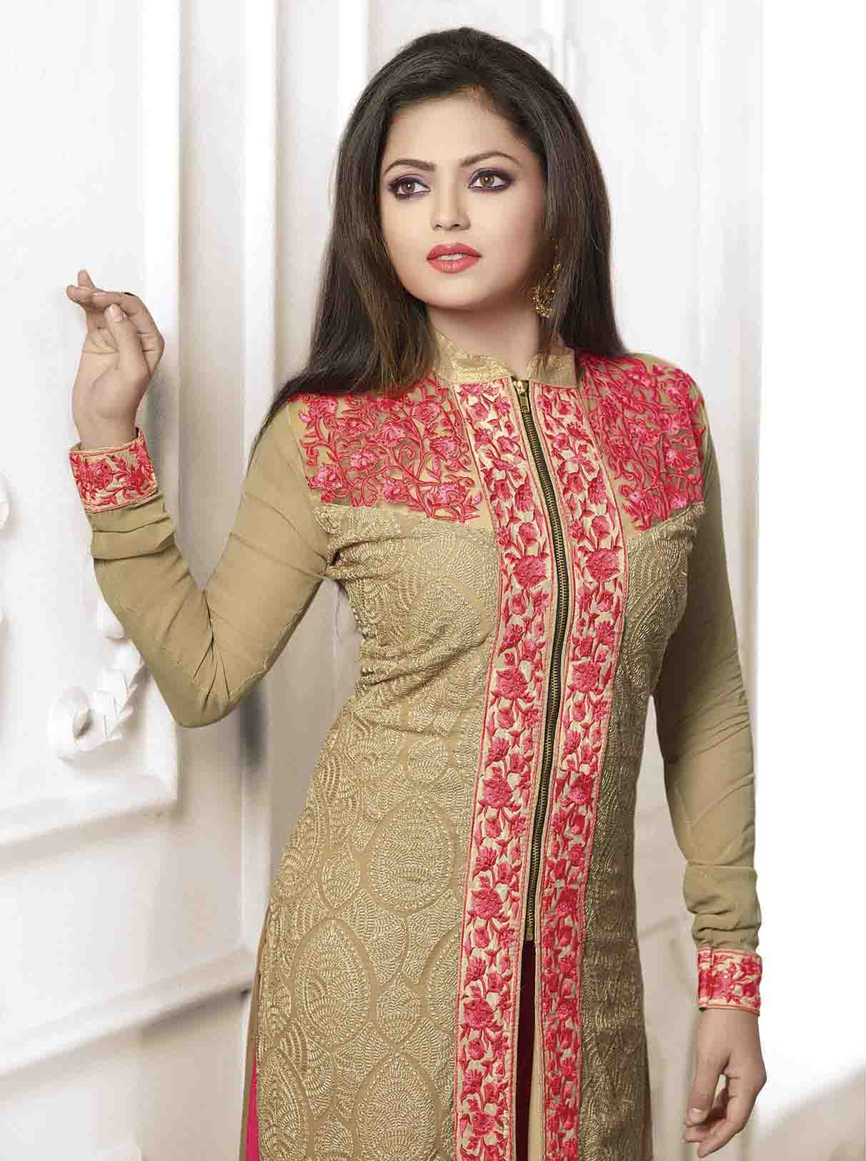 Madhubala as Drashti Dhami Designer Beige and Pink Georgette Salwar ...