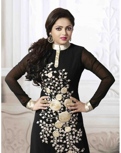 Madhubala as Drashti Dhami Designer Black and Cream Georgette Salwar Kameez